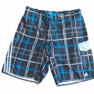 Adidas gray and blue plaid swim shorts XL